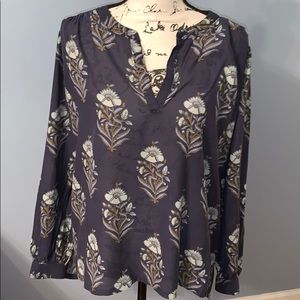 LOFT blue flower blouse Medium